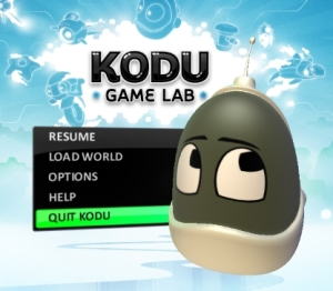 kodu start screen microsoft labs